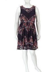 Fire Women's Navy Floral Lace Knit Dress - Navy - Size: 2X