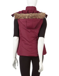 YMI Women's Maroon Quilted Puffer Vest - Sangria - Size: Large