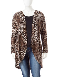 Signature Studio Women's Animal Print Cascade Sweater - Zebra - Size: 1X