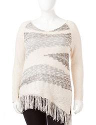 Women's Plus-size Marled Fringe Sweater - White / Grey - Size: 3X