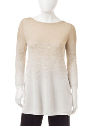 Ruby Rd. Women's Petites Golden Sparkle Sweater - White - Size: S