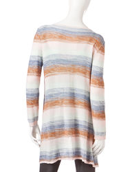 Valerie Stevens Women's Striped Cardigan - Pink Multi - Size: X-Large