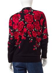 Cathy Daniels Women's Petite Rose Cardigan - Black - XL