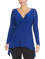 Chaus Women's Long Sleeve Zipper Shoulder Surplice Top - Lapis - Size: S