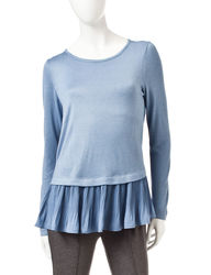Valerie Stevens Women's Pleated Chiffon-to-Knit Top - Blue - Medium