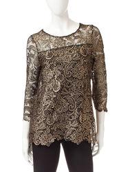 Skye's The Limit Women's Glamorous Groupie Crochet Top - Onyx - Size: M