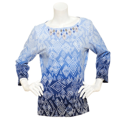 Ruby Rd. Women's Must Haves Beaded Ombre Tribal Top - Carmine - Size: 1X