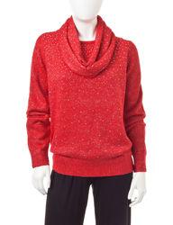Cathy Daniels Women's Glitter Rhinestone Sweater - Red - P/L