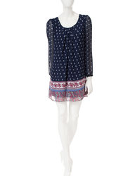 My Michelle Women's Crochet Back Border Print Shift Dress - Navy - XL