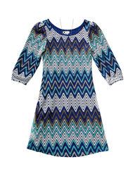 Emily West Girls Chevron Crochet Knit Dress - Multicolor - Size: 10