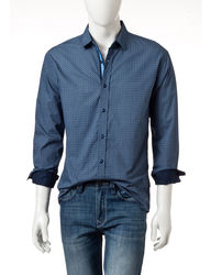 English Laundry Men's Blue Geo Print Woven Shirt - Navy Multi - Size: M