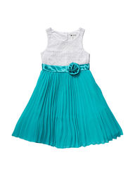 Emily West Girl's Lace Pleated Chiffon Dress - Teal - Size: 7