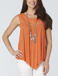 Democracy Women's Solid Color Handkerchief Top - Orange - Size: XL