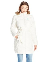 U.S. Polo Junior's Fur Hooded Long Puffer with Patch and Self Tie Belt - Oat - Medium