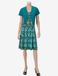 Women's 2-Pc Teal Crochet Shrug & Ikat Print Dress Set - Blue - Petites