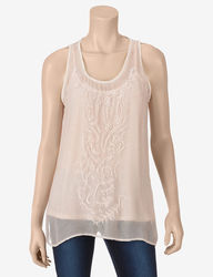 DKNY Women's Pink Floral Embroidered Overlay Tank Top - Blush - Large