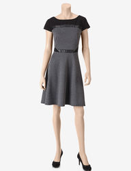S.L. Fashions Women's Mixed Media Dress - Black/Grey - 14
