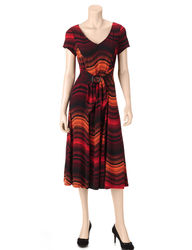 Perceptions Women's Tonal Striped Wave Dress - Black / Orange - Size: 10