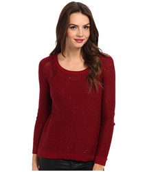 DKNY Jeans Women's Sequin Pullover Sweater - Ruby - Size: XS