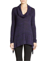 DKNY Women's Marled-Knit Sharkbite Sweater - Purple - Size: Medium