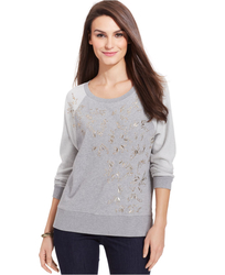 DKNY Women's Long-Sleeve Sequined Sweatshirt - Gray - Large