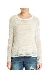 DKNY Jeans J4460055 Women's Textured Stripe Sweater - White - Sz: X-Large