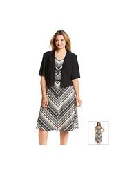 R&M Richards Women's Plus Size Chevron Printed Jacket Dress - Black