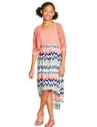 My Michelle Girls 2Pc Chevron Dress Set - Coral - Size: 14/7-16