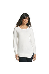 Jones Sport Women's Solid Color Asymmetrical Top - Misses - White - Large