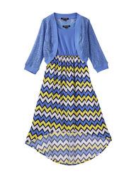 My Michelle Girls 2Pc Chevron Dress Set - Periwinkle - Size: 12/7-16