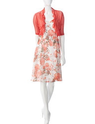 Connected Apparel 2-pc Women's Floral Print Dress & Jacket - Coral / 10