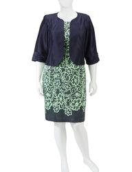 Dana Kay Women's Shantung Lace Print Jacket Dress - Blue - Size: Plus-size