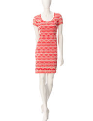 Ronni Nicole Women's Lace Dress - Coral & White Striped - Size: 18