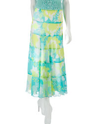 Ruby Rd. Women's Sweet & Chic Seafoam Floral Print Skirt - Green/Lime -18
