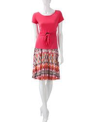 Perceptions 2-pc Women's Blurred Aztec Print Skirt Set - Orange -Size: 18