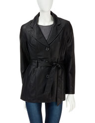 Valerie Stevens Women's Faux Leather Trench Coat - Black - Size: Large