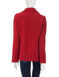 Valerie Stevens Faux Wool Peacoat & Scarf - Misses - Red - Medium