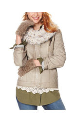 Signature Studio Women's Faux Fur Collar Jacket - Grey - Size: Medium