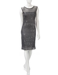 R&M Richards Women's Chevron Knit Shift Dress - Black / Silver -Size: 6