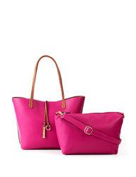 Women's 2pc Reversible Tote & Removable Crossbody Bag -Cognac/Berry -Sz: L