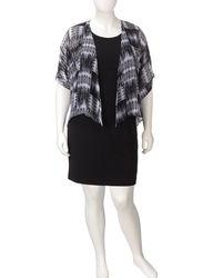A. Byer 2-Pc Plus-size Chiffon Tribal Print Kimono & Dress Set - Black/22W