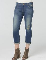 Democracy Women's Medium Wash Destructed Crop Pants - Blue - Size: 6