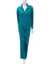 Women's 2pc Velour Stud Embellished Jacket & Pants Set - Teal - Size: S