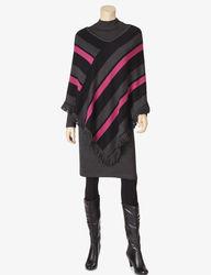 Lennie Women's 2-Piece Striped Poncho Over Dress Set - Black/Ivory - Sz: L