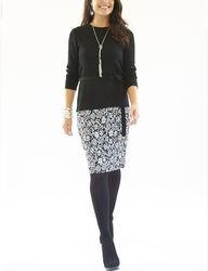 Lennie Women's 2-pc Floral Textured Skirt & Top Set - Black/White - Sz: L