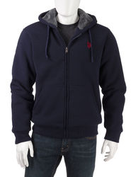 U.S. Polo Assn. Men's Solid Lined Hooded Sweatshirt - Classic Navy / XXL
