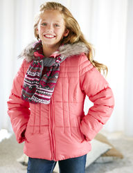 London Fog Girl's Puffer Jacket - Coral - Size: 7-16 Month