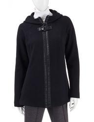 Valerie Stevens Buckle Hooded Knit Jacket - Black - Medium