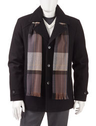 Michael Kors Men's Wool Coat and Scarf - Black- Size: XL