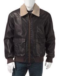 Chaps Men's Faux Leather Jacket - Brown - Size:Medium